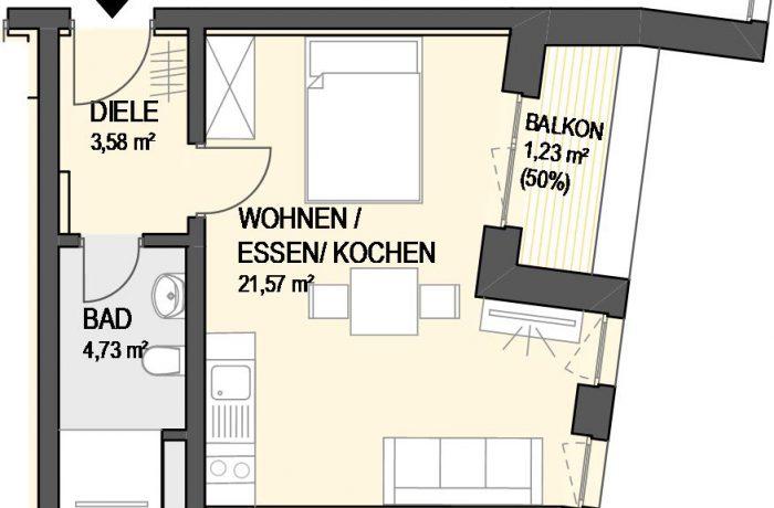 1,5-Zimmer Wohnung (#Ka5)
