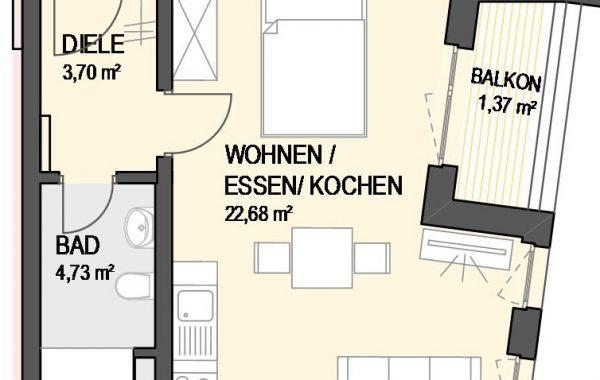 1,5-Zimmer Wohnung (#Ka12)