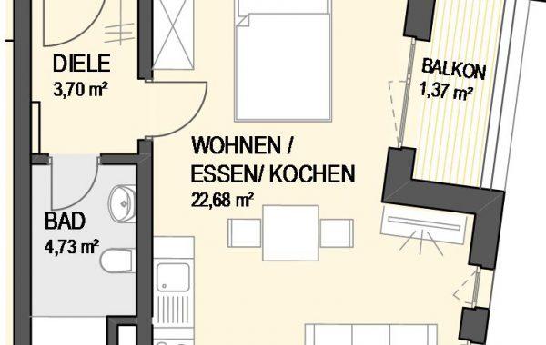1,5-Zimmer Wohnung (#Ka18)